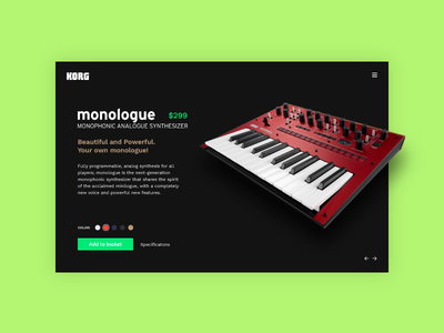 E-Commerce Shop (Single Item)  - Daily UI - #012 synth korg item single ecommerce ux ui daily