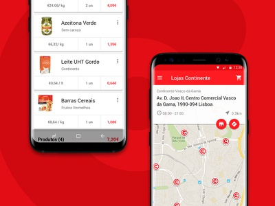 Interface: Continente's grocery list and store locator. list grocery location map supermarket store portugal continente app market app android