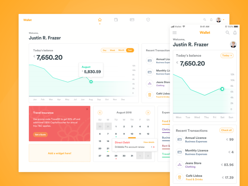 Wallet Banking Dashboard outsystems finance bank banking wallet dashboard
