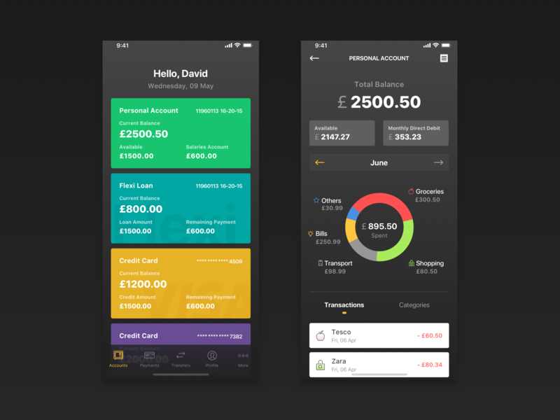 Banking and expenses management app finance night mode management app expenses banking app ux ui