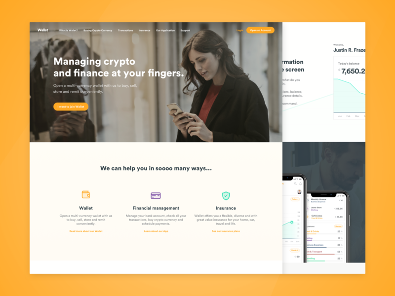 Wallet - landing page web ui ux ui design ux outsystems landing crypto wallet crypto personal finance finance banking