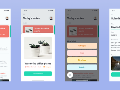 Office Care App daily notes reports chat poll calendar tasks office ui ux mobile