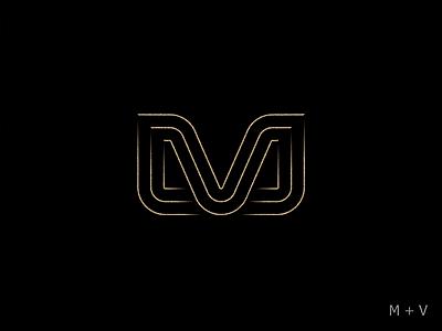 M+V line symbol mark logotype logo mv design