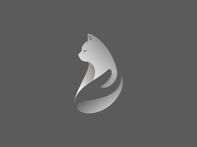 Cattaclub logo gradient symbol mark logotype logo illustration identity design cattaclub cat