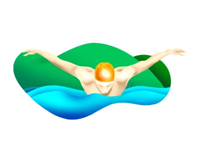 Swimmer swimming texture mountain water sea graphic illustration swimmer