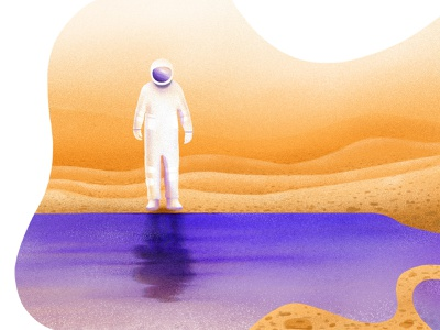 Water on Mars mountain illustration spaceman digital shadow gradient water texture colors color brush mars space graphic design