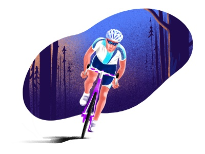 Cyclist trees man health illustration texture shadow speed nature way forest wood graphic grain procreate app procreate bicycle color sport design cyclist