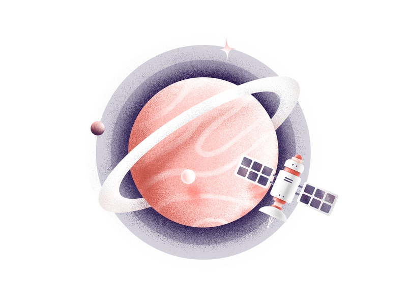 Extend Your Team satellite texture style stars star space shadow procreate planet illustration iconillustration graphic grain gradient digital color design icon brush belka