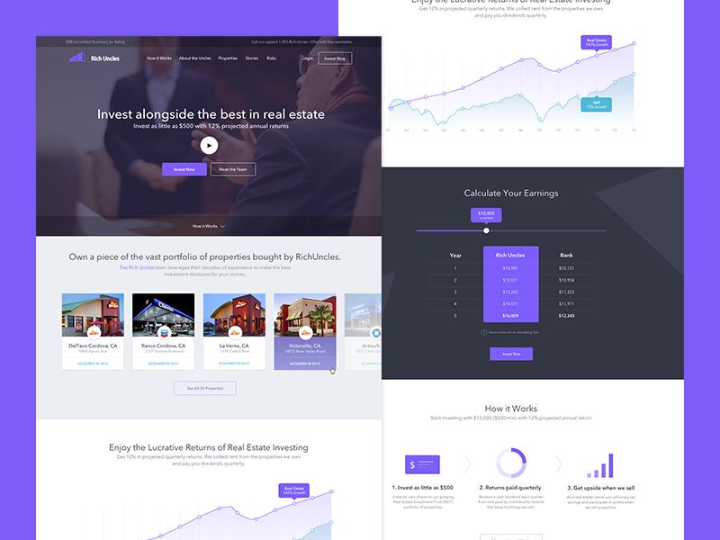Rich Uncles - Landing Page webdesign2015 properties background video rich uncles strvcom strv purple webdesign invest investing finance website finance landing page