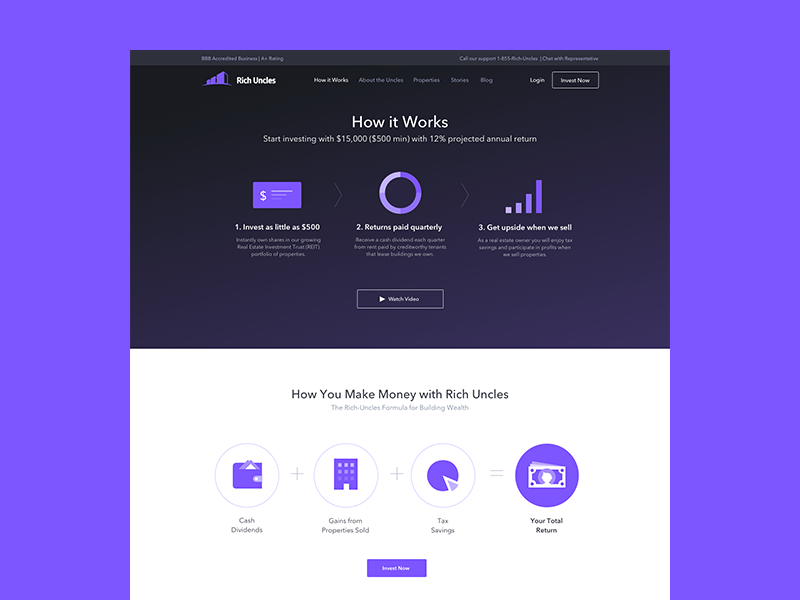 Rich Uncles - How It Works properties background video rich uncles strvcom strv purple webdesign invest investing how it works finance website finance landing page