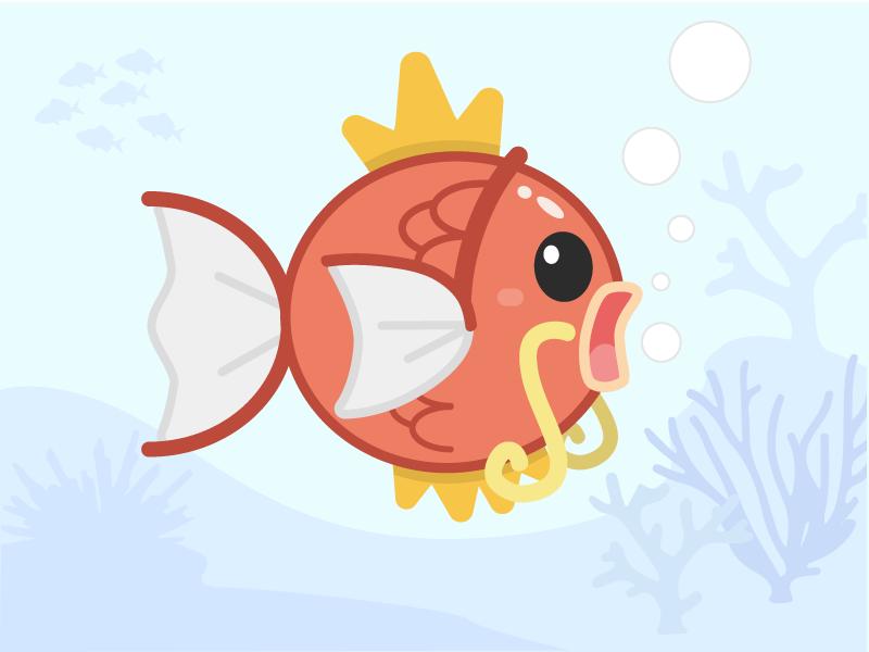 Magikarp waterfall design fishing ocean fish illustration pokemon