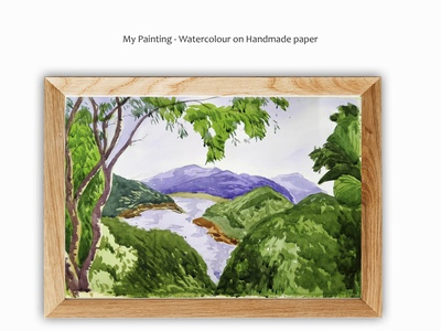 Painting - Water colour on handmade paper water colour landscapes