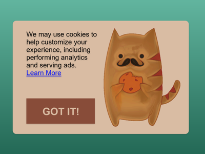 Daily UI #016 - Pop-Up / Overlay enable learn more cute animal mustache cookies cookie cat gimp affinity designer affinitydesigner vector ux ui dailyuichallenge daily ui dailyui daily 100 challenge daily