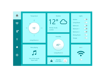 Daily UI #021 - Home Monitoring Dashboard wifi lights temperature app design dashboard design dashboard app dashboard ui dashboard dashboad home monitoring dashboard home app design ux ui dailyuichallenge daily ui dailyui daily 100 challenge daily