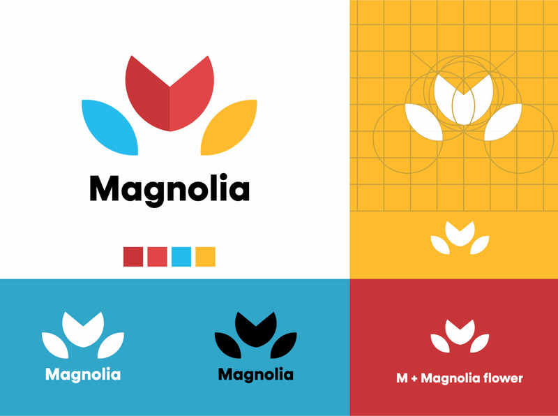 Magnolia Logo concept monogram branding icon logo