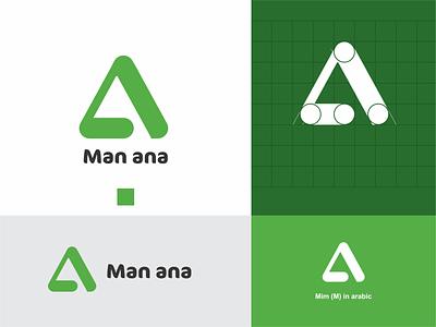 Man Ana Concept logo With Arabic M art graphic design branding illustrator icon app ui web design logo monogram