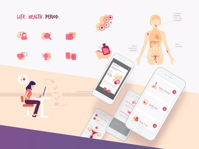 Site design and animations for a health platform web icon vector branding design illustration
