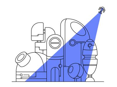 House on Mars linework lineart digital illustration vector illustrator illustration art illustration flat