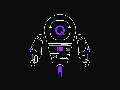 QUB-E robotic robots robot linework lineart digital illustration vector illustrator illustration art illustration flat