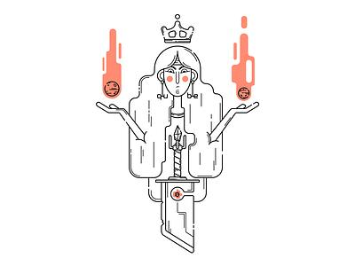 Princess with a sword tattoo anime fire linework lineart digital illustration vector illustrator illustration art illustration flat