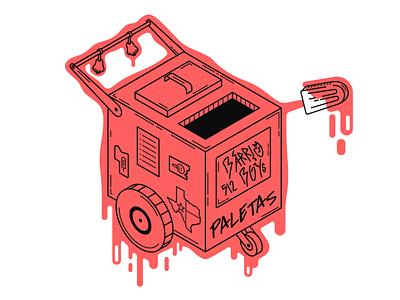 Ice Cream Cart red design icecream linework lineart digital illustration vector illustrator illustration art illustration flat