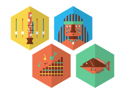 More Colorful Icons icons color vector peruvian rainforest blowgun piranha fish panpipes music chief headdress
