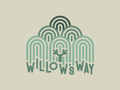 Willow's Way weeping willow willow tree logo mark too many circles green