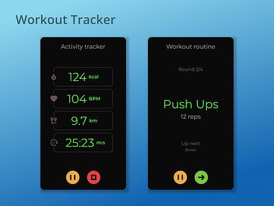 DailyUI Challenge 041 - Workout Tracker dailyui 041 daily ui activity tracker workouts workout tracker workout app workout mobile ui mobile design dailyuichallenge daily 100 challenge ui design ui dailyui