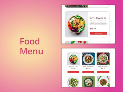 DailyUI Challenge 043 - Food Menu food menu menu card menu website design web design webdesign dailyui 043 dailyuichallenge daily 100 challenge ui design ui dailyui