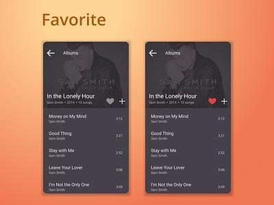 DailyUI Challenge 044 - Favorites favourites favorites music app favourite favorite design mobile design android app mobile ui dailyui 044 dailyuichallenge daily 100 challenge ui design ui dailyui