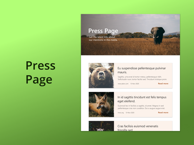 DailyUI Challenge 051 - Press Page website design wildlife press page image website web design dailyui 051 dailyuichallenge daily 100 challenge ui design ui dailyui