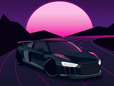 Night drive vector vaporwave car synthwave neon art illustrator design illustration