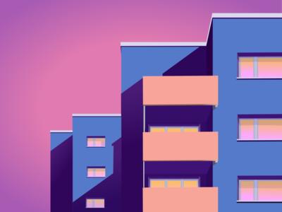 Minimal Architecture flat neon building architecture minimal design art vector illustrator illustration