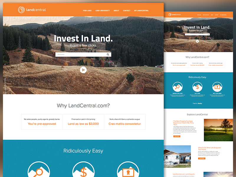 LandCentral Home Page website mockup ui homepage home page web design