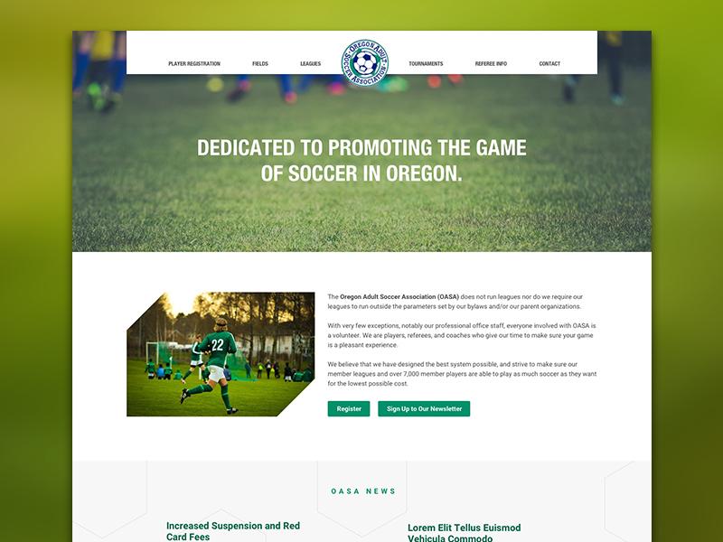 OASA website: quick mockup oregon adult soccer association oasa website website mockup soccer website oasa web ui web design