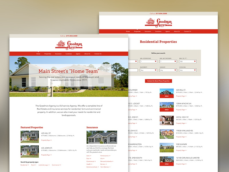 Goodman Agency web UI real estate ux web ui web design