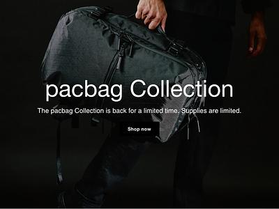 My pacbag shopify design shopify development adobe xd designer adobe xd design visual design bags bag travel bag shopify cms development