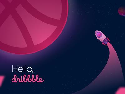 Hello Dribbble! ux logo ui vector typography design illustration branding graphic design
