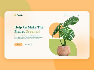 Plant it Landing Page concept website plants website save earth plants practice ui ux figma landing page ui