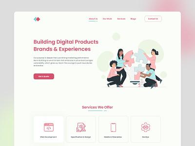 Daily UI Challenge : 003 - Landing Page branding digital agency graphic design design ui  ux landing page ui