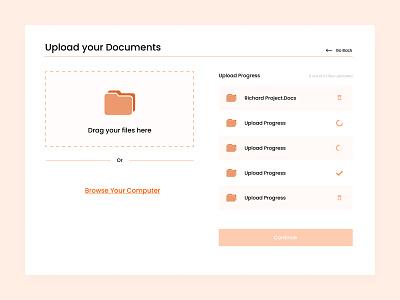 Upload Document uiux graphic design docs doc upload document upload orange minimal challenge dailyui design ui ux document upload document upload