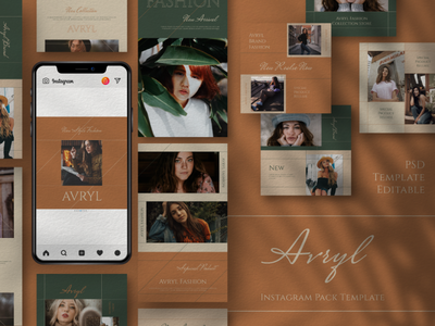 Avryl Story & Feed Instagram Template minimalist vintage psd interaction graphic design design agency company corporate business photoshop story feed story instagram feed story template instagram instagram template