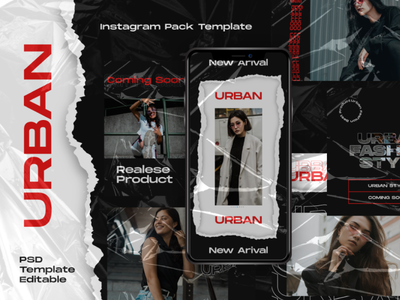 Urban Story & Feed Instagram Template modern dark urban psd interaction graphic design design agency company corporate business photoshop story feed story instagram feed story template instagram instagram template