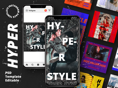 Hyper Story & Feed Instagram Template psd interaction graphic design design agency company corporate business photoshop story feed story instagram feed story template instagram instagram template