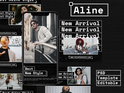 Aline Story & Feed Instagram Template psd interaction graphic design design agency company corporate business photoshop story feed story instagram feed story template instagram instagram template