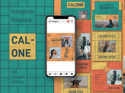 Calone Story & Feed Instagram Template modern full color urban psd interaction graphic design design agency company corporate business photoshop story feed story instagram feed story template instagram instagram template