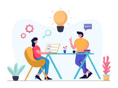 Brainsorming With Team team brainstorming full color pastel color icon landing page presentation startup agency company corporate business mobile app dashboard website flat scene vector illustration