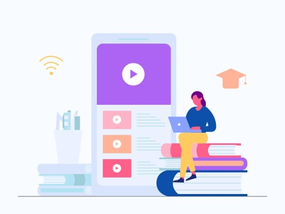 Watch Video Education Online online learning education vintage icon landing page presentation startup agency company corporate business mobile app dashboard website illustrations flat scene vector illustration