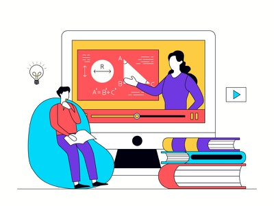 Learning Online online learning education lineart full color icon landing page presentation startup agency company corporate business mobile app dashboard website flat scene vector illustration