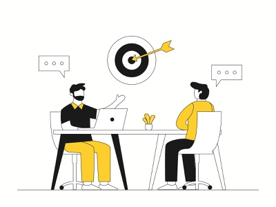 Discution With Team meeting team discussion lineart monochrome icon landing page presentation startup agency company corporate business mobile app dashboard website flat scene vector illustration